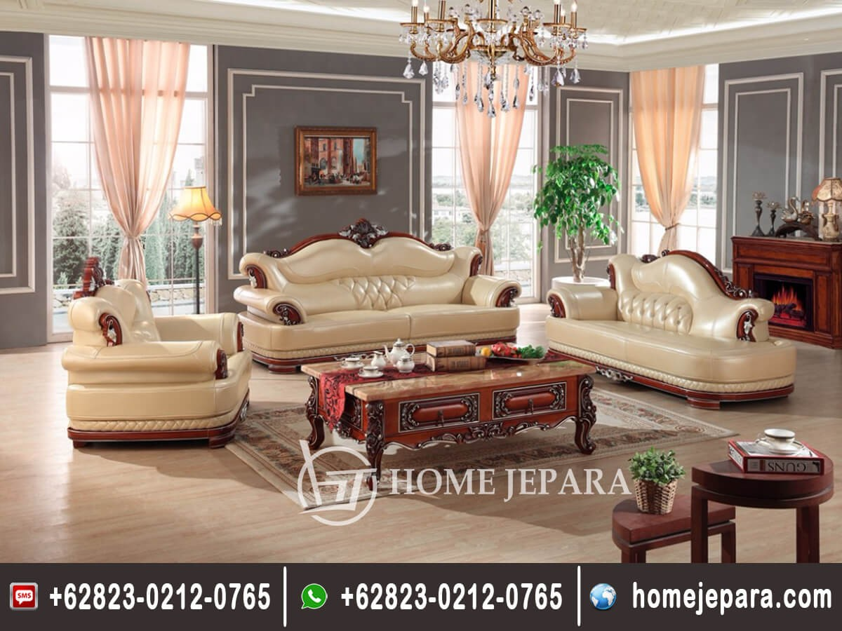 Set Sofa Tamu Jati Ukiran Model Eropa